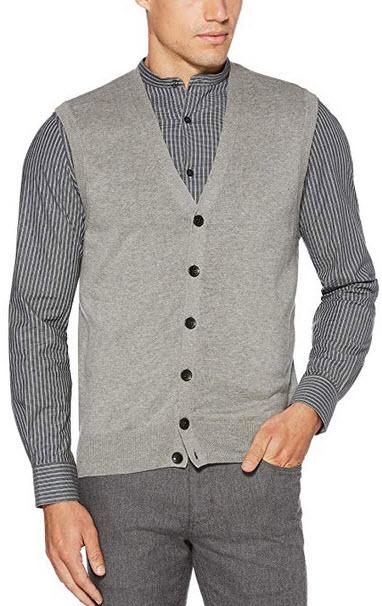 Perry Ellis Men's Jersey Knit Vest smoke heather