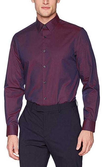 Perry Ellis Men's Non-Iron Travel Luxe Solid Shirt midnight plum