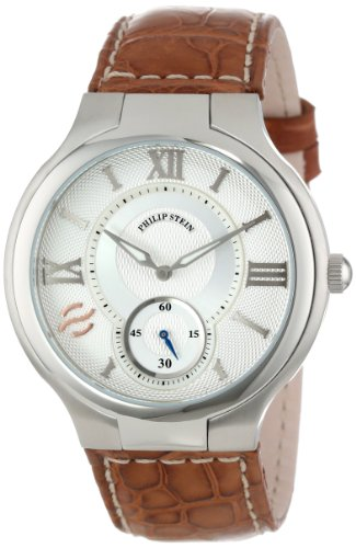 Philip Stein Mens 42-SIL-ASBR Stainless Steel Watch with Leather Band