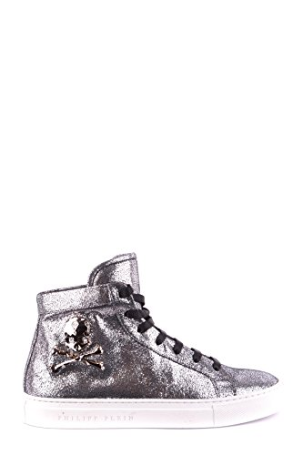 Philippe Model Women's MCBI238084O Silver Leather Hi Top Sneakers