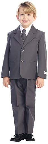 5-Piece Boy's 2-Button Dress Suit – 6 Colors: Black White Ivory Gray (Infant-20) by  ...