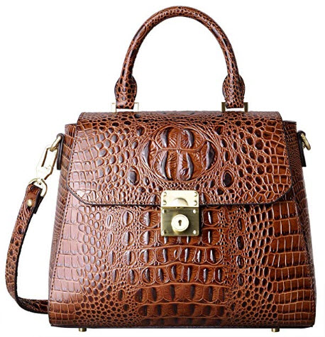 PIFUREN Crocodile Bags Designer Leather Satchel Handbags Top Handle Shoulder Purse, brown