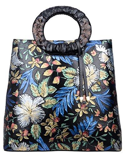 Pijushi Designer Floral Purses Women's Top Handle Handbag Leather Tote Bag Holiday Gift