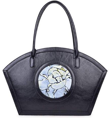 PIJUSHI Women Designer Shoulder Handbag Floral Leather Tote Purses, black rose