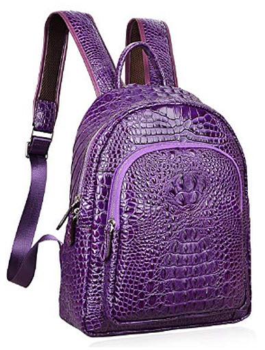 PIJUSHI Women Leather Backpack Crocodile School Backpack Casual Rucksack, violet