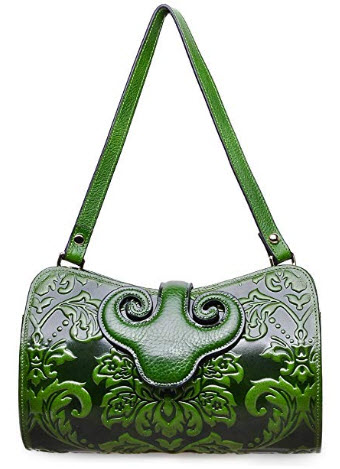 PIJUSHI Womens Crossbody Evening Bag Embossed Floral Party Clutch Bags, green