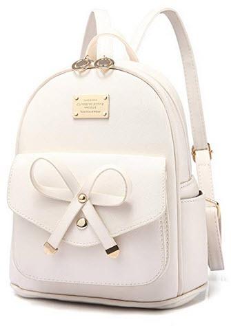 PINCNEL Girls Bowknot Cute Leather Backpack Mini Shoulder Bag Backpack Purse Women beige