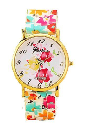 Pink and Yellow Roses and Floral Silcone Watch Band by Basket Hill Watches and Gifts