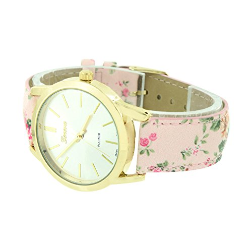 Pink Floral Design Watch Womens Ladies Gold Tone Girls Analog Quartz Jojino by Master Of Bling