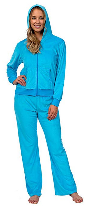 Pink Lady Womens Soft Velour Hoodie and Velour Pants Everyday Tracksuit Set zip cyan blue