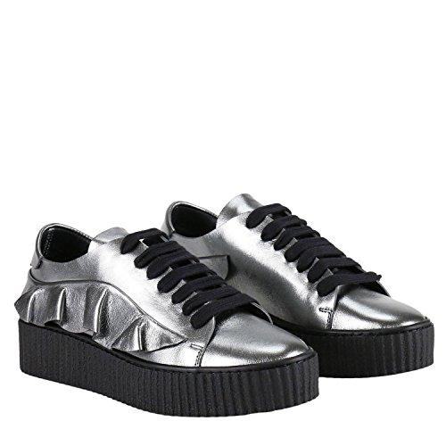 Pinko Women's 1H20BXY3R6ZZI Silver Leather Sneakers