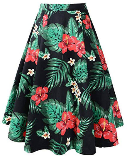 Pinup Fashion Women's Vintage A-line Floral Printed Pleated Flared Midi Summer Skirt, black
