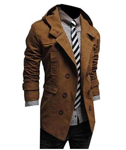 Pivaconis Men Oversized Solid Color Hoodie Double Breasted Trench Coat.