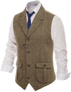 PJ PAUL JONES Men's Herringbone Tailored Collar Waistcoat Wool Tweed Suit Vest with Flap Pockets