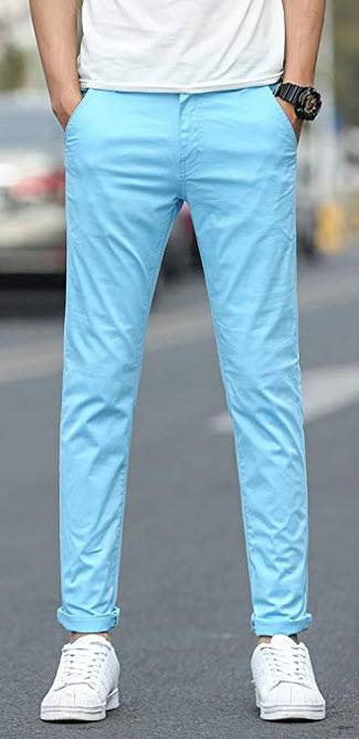 Plaid&Plain Men's Stretchy Khaki Pants light blue