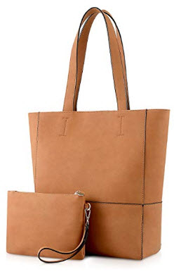 Plambag Vegan Leather Tote, Women's Faux Leather Purse Handbag for Work Office