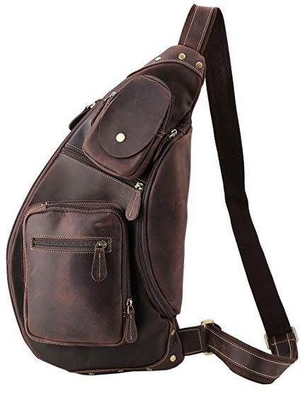 Polare Cool Real Leather Cross Body Sling Bag Chest Bag Backpack Large dark brown
