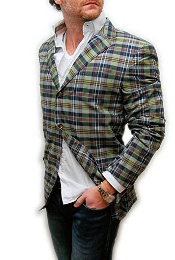 Polo Ralph Lauren Mens Blazer Sport Coat Jacket Plaid Green Navy Red Italy.