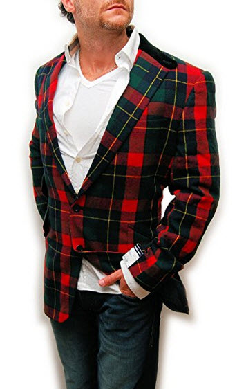 Polo Ralph Lauren Mens Wool Cashmere Blazer Sport Coat Italy Plaid Red Green.