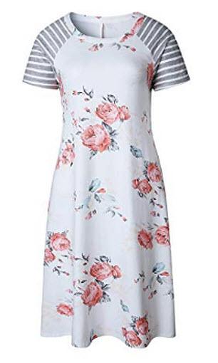POPTEM Women's T-Shirt Dresses Floral Print Casual Short Sleeve Summer Loose Shift Dress,  ...