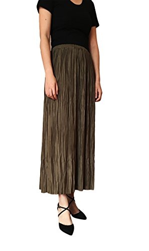 Long Fold Skirt High Class Style Women Summer Pleated High Waist Long Skirt by DAOLAOZUI