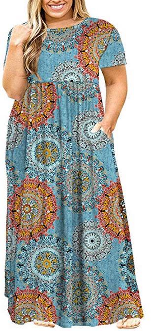 POSESHE Women Plus Size Long Sleeve Plain Casual Long Maxi Dress with Pockets blue print