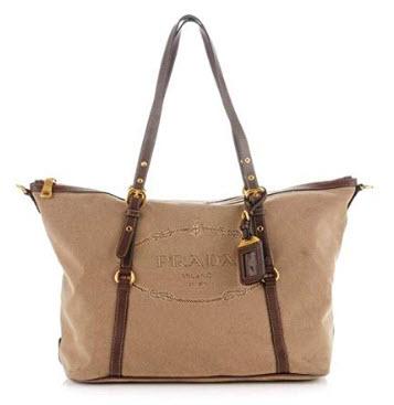 Prada Women's Jacquard Logo Shopping Tote Corda Bruciato 1BG253