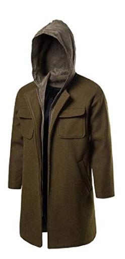 Prech Mens Thicken Wool Blend Zip-Up Overcoat Hooded Slim Long Trench Coat