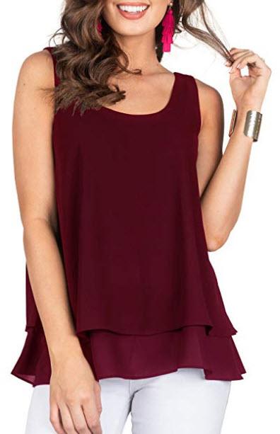 PRETTODAY Women's Sleeveless Layered Tank Tops Round Neck Blouses Summer Chiffon Shirts, w ...