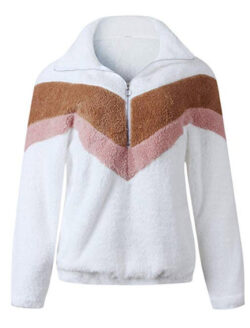 PRETTYGARDEN Women's Warm Long Sleeve Half Zipper Color Block Striped Fuzzy Fleece Pullover Sher ...