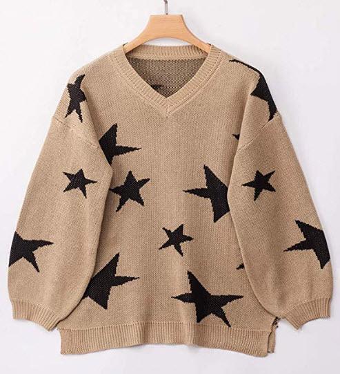 PRETTYGARDEN Women's Winter V Neck Lantern Long Sleeve Star Printed Split Knitted Sweater Pullov ...