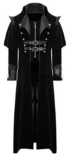 pujingge Men's Gothic Ethnic Style Jacket Overcoat Clothes Retro Trench Coat, black