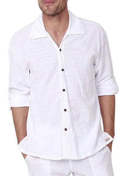 PURE COTTON Men's White Shirt 100% Cotton Casual Hippie Shirt V-Neck Drawstring Short Slee ...