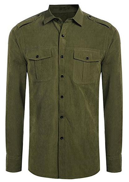 Qearal Mens Turn Down Collar Long Sleeve Faux Suede Solid Button Down Shirts W/ Pocket army green
