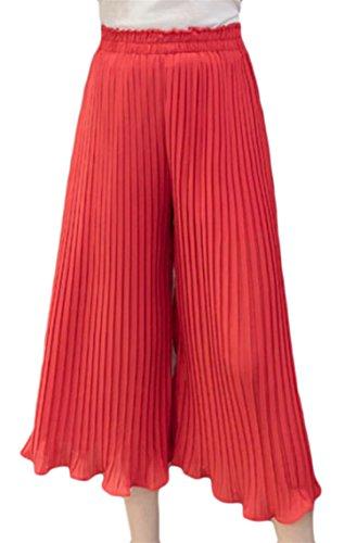 Qiangjinjiu Womens Ruched Chiffon High wast Fashion Palazzo Pants