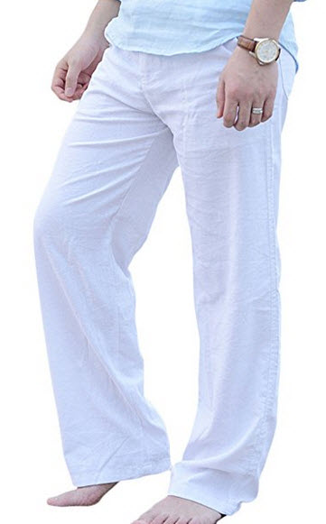 Qiuse Men's Casual Loose Fit Straight-Legs Stretchy Waist Beach Pants .