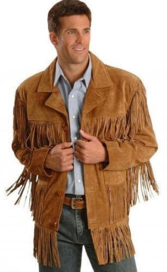 QMUK's Mens Western Scully Brown -Suede- Leather Jacket with Fringes .