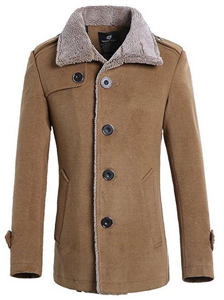 QZUnique Men's Fashion Classical Slim Fit Single Breasted Casual Wool Coat.