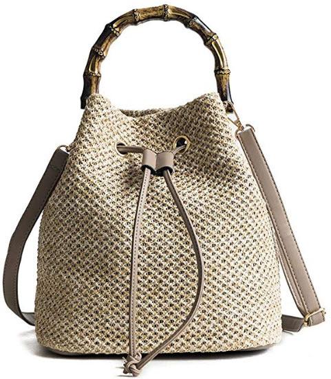 QZUnique Women's Bucket Drawstring Handbag Straw Shoulder Bag Straw Weave Crossbody Handbag Beac ...