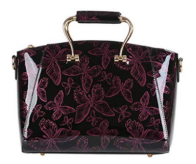 QZUnique Women's Elegant Top Handle Bowknot Printing Cross Body Shoulder Bag wine red