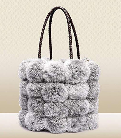 QZUnique Women's Faux Fur Bucket Handbag Drawstring Fur Bag Shoulder Tote Bag gray