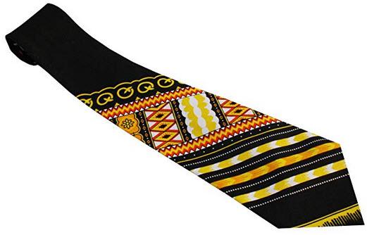 RaanPahMuang Branded Handmade Bold African Dashiki Printed Cotton Necktie Tie angle black yellow