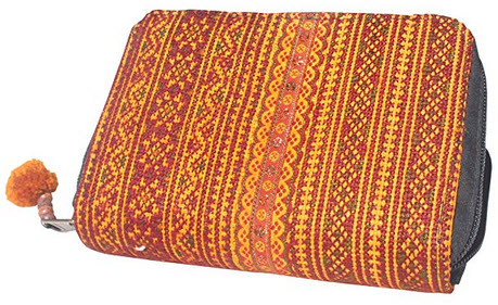 RaanPahMuang Hmong Fabric Multi Compartment Clutch Wallet with Zip Closure yellow tones