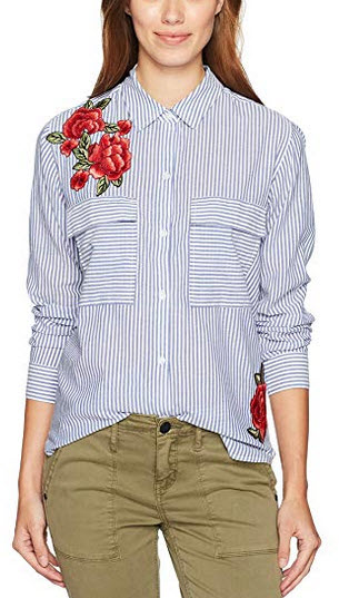 Rails Women's Frances Banker Stripe W Red Floral Patches