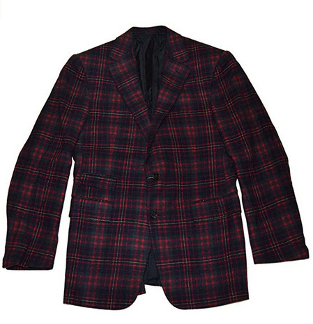 Ralph Lauren Purple Label Mens Cashmere Sport Coat Blazer Italy Plaid Red 42L.