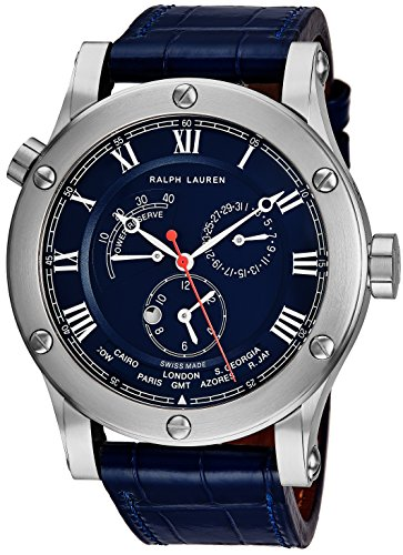 Ralph Lauren Sporting Worldtimer Mens 45mm Stainless Steel World Time Watch – Blue Leather ...