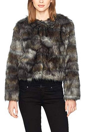 Ramy Brook Women's Camo Faux Fur Krissy Jacket grey combo