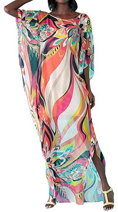 RanRui Women's White Ethnic Print Kaftan Maxi Dress Summer Beach Dress 3307
