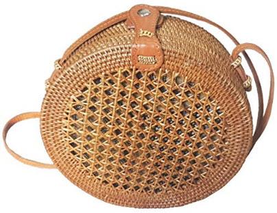 Rattan Nation – Handwoven Round Rattan Bag Straw Bag, style 8