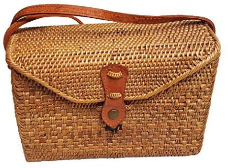 Rattan Nation – Rectangular Woven Rattan Bag (Leather Closure), Ata Basket Bag